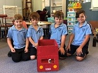 students made a London red bus